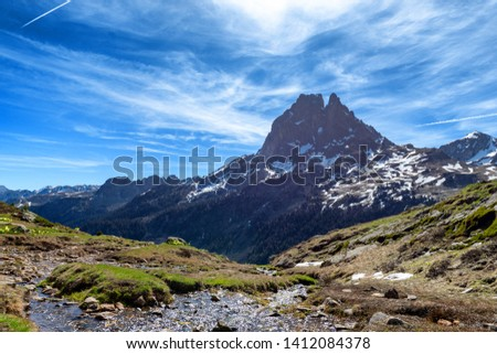 view of Pic du Midi Ossau in springtime, in the french Pyrenees