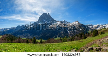 view of Pic du Midi Ossau in springtime, the french Pyrenees