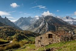 View of Picos de Europa National park near Sotres village, Spain.
