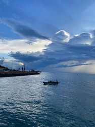 View of Pier of Tanjungpinang Regency, that boat called by local resident is Pompong