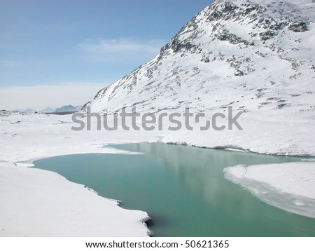 View of Piz Bernina Alps mountains in Switzerland - stock photo