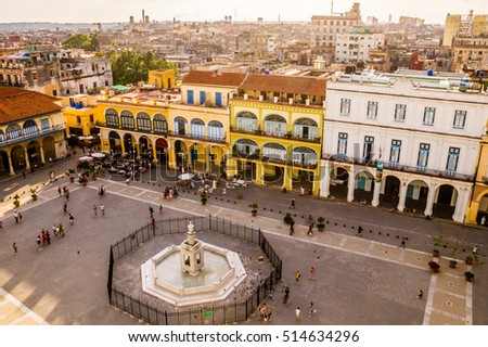 Shutterstock View of Plaza Vieja in Havana, Cuba from above with colorful colonial buildings