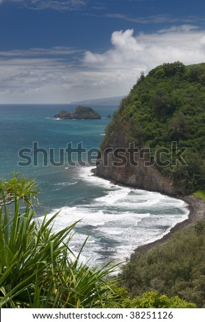 View of Pololu beach from trail lookout, north shore of the Big Island, Hawaii
