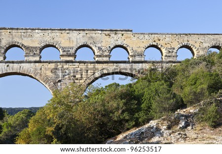 View of Pont du Gard, an old Roman aqueduct in southern France near Nimes