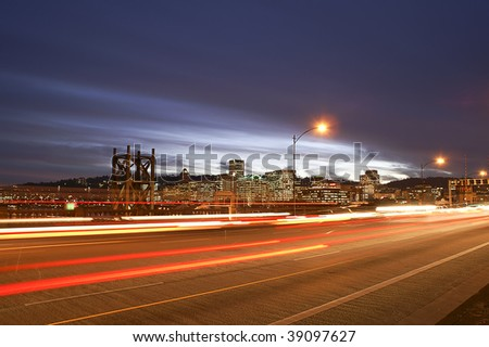 View of Porland, Oregon Skyline from the Burnside Bridge