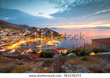 View of port of Hydra from a hill above the town. Foto stock ©