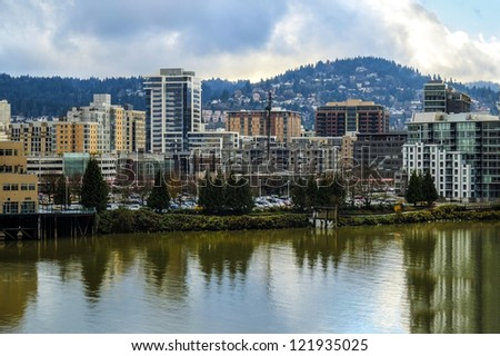 View of Portland, Oregon and Willamette River