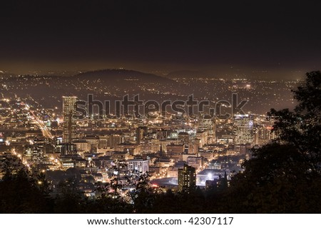 View of Portland, Oregon from Pittock Mansion at night. - stock photo