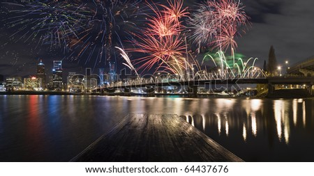 View of Portland Oregon, USA during a Fireworks Show.