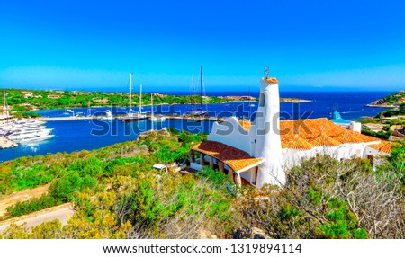 View of Porto Cervo and Stella Maris church, Italian seaside resort in northern Sardinia, Italy. Centre of Costa Smeralda. One of the most expensive resorts in the world. #1319894114
