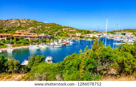 View of Porto Cervo, Italian seaside resort in northern Sardinia, Italy. Centre of Costa Smeralda. One of the most expensive resorts in the world. #1286078752