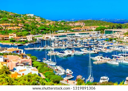 View of Porto Cervo, Italian seaside resort in northern Sardinia, Italy. Centre of Costa Smeralda. One of the most expensive resorts in the world. #1319891306