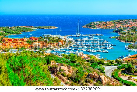 View of Porto Cervo, Italian seaside resort in northern Sardinia, Italy. Centre of Costa Smeralda. One of the most expensive resorts in the world. #1322389091