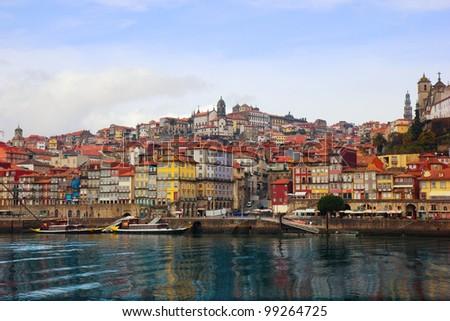 view of Porto, Portugal from river Douro
