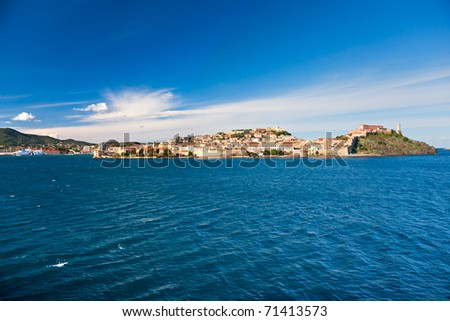 View of Portoferraio Harbour, Isle of Elba, Livorno, Italy.