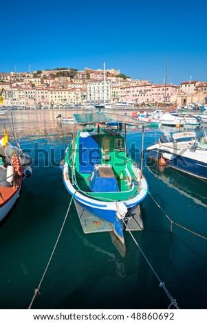 View of Portoferraio old city, with the Forte Stella and the Napoleon Villa. Isle of Elba, Livorno, Italy.