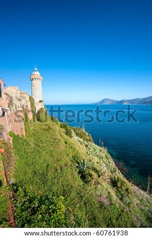View of Portoferraio old city, with the Forte Stella and the Napoleon Villa. Isle of Elba, Livorno, Italy. - stock photo