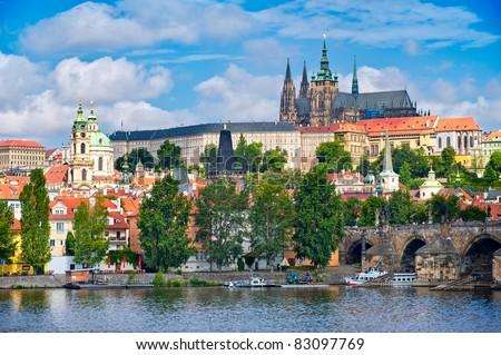 View of Prague castle and Charles Bridge Stock photo ©