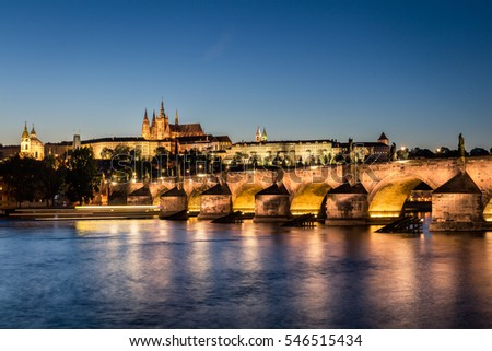 View of Prague Castle and Charles Bridge at night.Czech Republic.