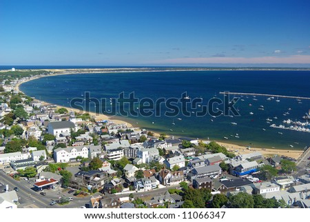 View of Provincetown and its bay from atop the Pilgrim Monument