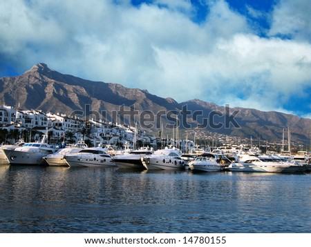 view of puerto banus harbour, puerto banus, spain, costa del sol