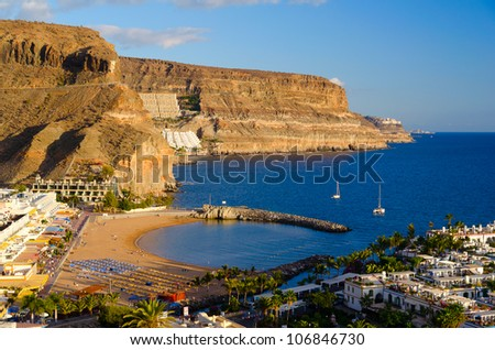 view of Puerto de Mogan bay, Gran Canaria, Spain