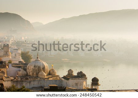view of pushkar city in india...