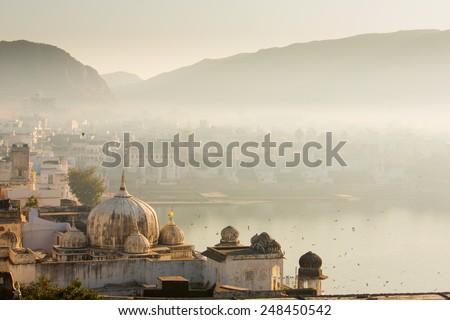 view of pushkar city in india...