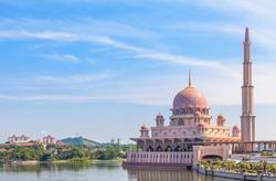 View of Putra Mosque (Masjid Putra) in Putrajaya, Malaysia
