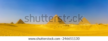 view of pyramids in giza ...