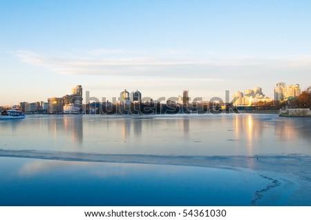 View of quay wharf embankment Yekaterinburg City. Winter.