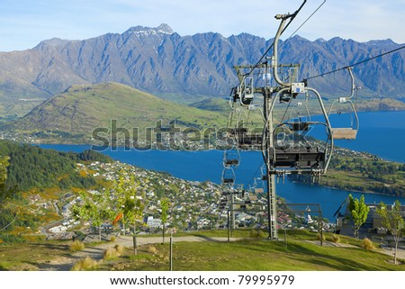 View of Queenstown and Lake Wakatipu from the Skyline Gondola - stock photo