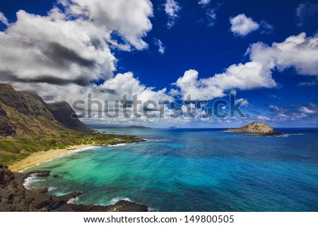 View of Rabbit Island and Makapu'u Beach Park from Makapu'u Point on the Hawaiian island of Oahu