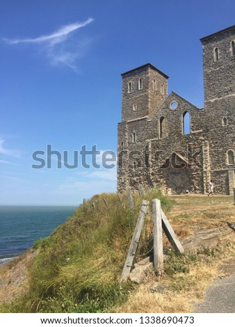 View of Reculver Towers and Roman Fort in Herne Bay