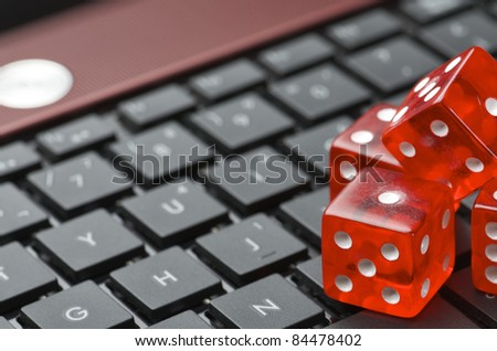 view of red dices to gamble and play online