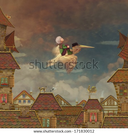 View of red roof tiles and cloudy sky on the background