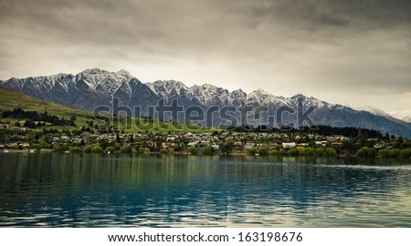 View of Remarkables from Lake Wakatipu, New Zealand