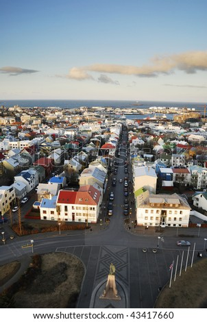 View of Reykjavik from the top of Hallgrimskirkja church tower