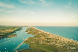 View of Ria Formosa from above, by drone