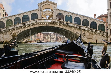 View of  Rialto Bridge and Grand Canal from  gondola, Venice, Italy