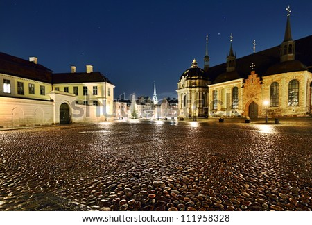 View of Riddarholmen church and the Old Town at night, Stockholm, Sweden.