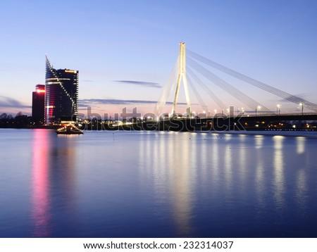 View of Riga river and Vansu Bridge in evening