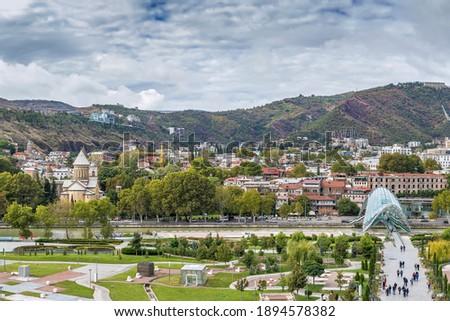 View of Rike Park and Tbilisi city center, Georgia Stok fotoğraf ©