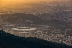 View of Rio de Janeiro  at twilight in Brazil