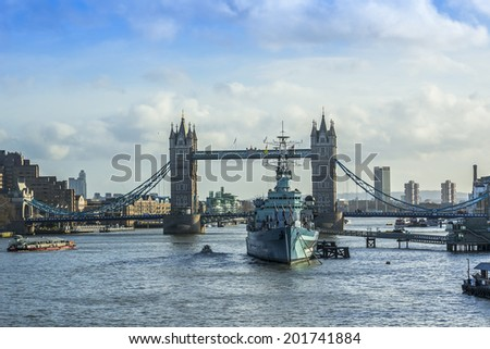 View of River Thames and Tower Bridge late at night. London, England.