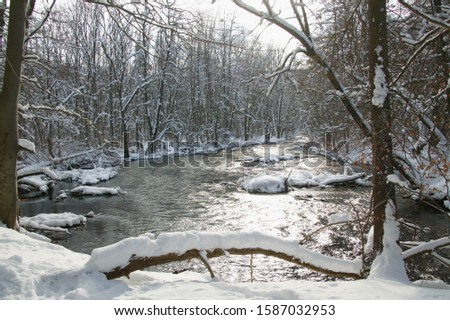 View of River Wuerm in winter, Starnberg District, Upper Bavaria, Germany