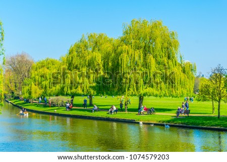 View of riverside promenade of Avon in Stratford upon Avon, England