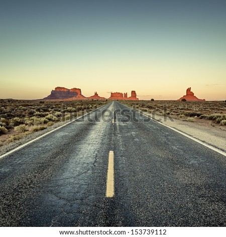 view of road to Monument Valley USA