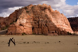 View of rock formation known locally as the 'birthing cave' on the Kolob Terrace. Southern Utah, USA.