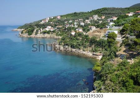 "view of rocky coast and coves to the north of Ulcinj ""Stari Grad"", Montenegro"